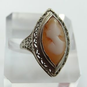 Jewelry - 1920's 14k White Gold Filigree Cameo Ring